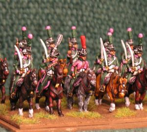 15mm, Napoleonic French Line Chasseur Pink Facings AB 12 figures